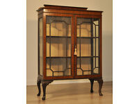 Attractive Large Vintage Mahogany Two Glazed Door Display Cabinet
