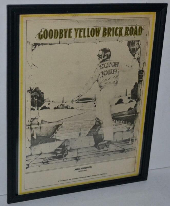 ELTON JOHN 1973 GOODBYE YELLOW BRICK ROAD FRAMED PROMO POSTER / AD FAREWELL TOUR