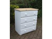Tall Shabby Chic Pretty Pine Chest of Drawers - 4 Drawers - John Lewis - CAN DELIVER