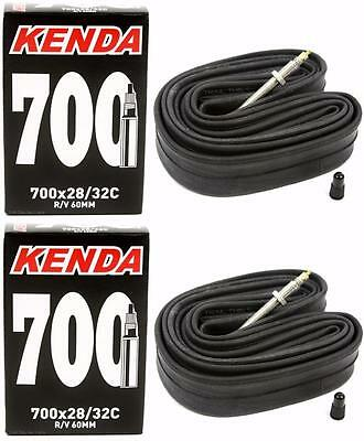 2-Pack Kenda 700x28-32C 60mm Threaded Presta Valve RVC Road Bike Inner Tubes
