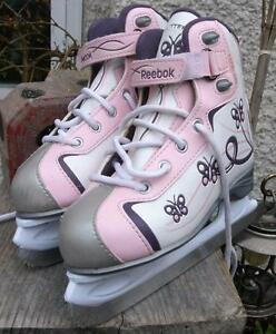 Little Girls REEBOX GLITTER Ice Figure Skates Size 1 VGC Pink and White
