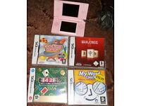 Nintendo DS Lite Coral Pink Handheld System & 5 Games