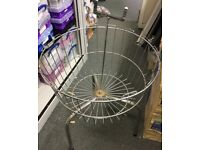 REDUCED £10 Used Chrome Round Wire Basket Dump Bin Shop Sales Retail Display H60cm D50 cm