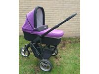 ABC Cobra multifunctional pushchair + pram caryycot. Suitable from 0+ month.Memory foam.Black&violet