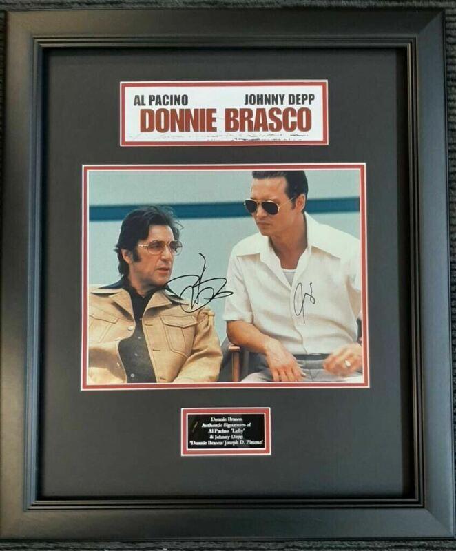 Johnny Depp Al Pacino Signed & FRAMED 11X14 Photo Donnie Brasco AFTAL COA