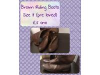 Brown Pre Loved Riding Boots Size 8