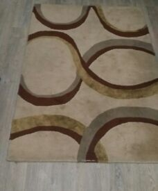 Gold and Brown with Patterns Rug - Wool