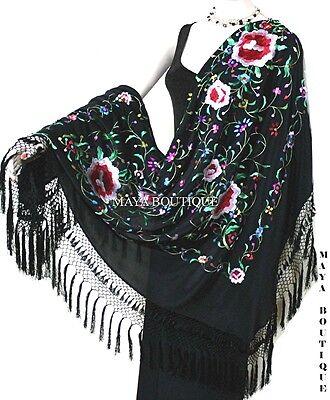 "Embroidered Silk Piano Shawl Wrap Flamenco Black Multi Roses Detailed Fringe 61"""