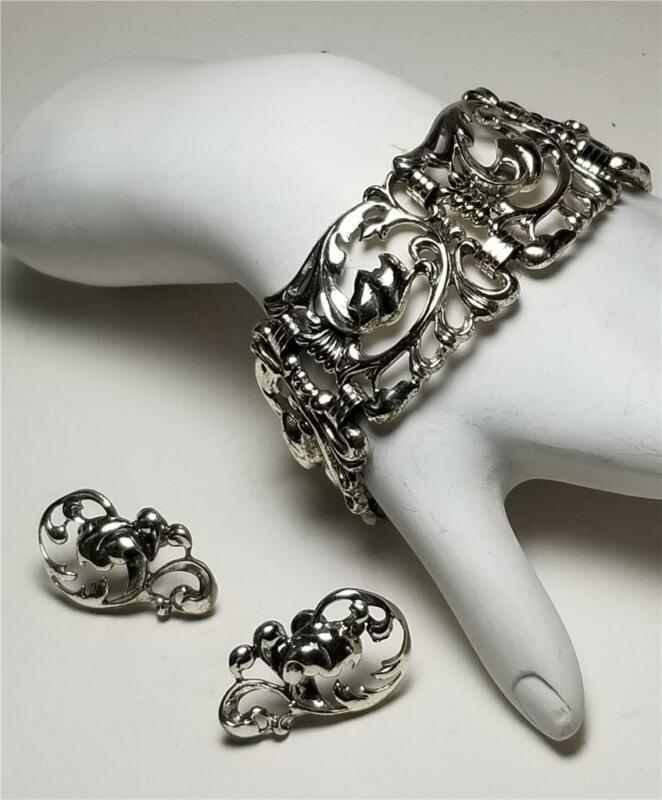 Estate Vintage Danecraft Art Nouveau Sterling Link Bracelet + Earrings Set 74 gr