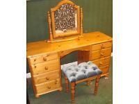 Antique Pine real solid wood bedroom furniture dressing table desk + stool (velvet seat) & mirror