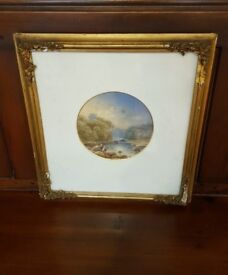 pair of antique watercolour paintings in original ornate gold frames
