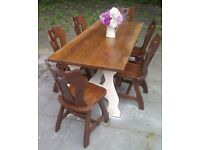large solid farm house table 6 chairs 200cm app - shabby chic