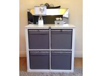 £99 (or £124 posted) Modern Sideboard Storage Boxes Cube Unit White / Black and Silver / Gold Bling