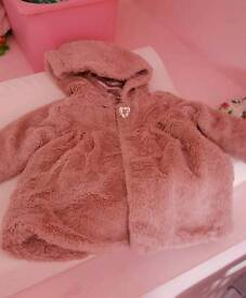 Girls pink fluffy coat 12-18months