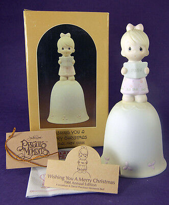 Precious Moments WISHING YOU A MERRY CHRISTMAS Porcelain BELL E5393 1984 Box Tag