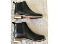 Whistles black leather ankle boots with white detail worn once