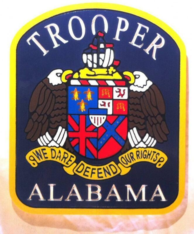 Police  Alabama State Trooper 3D routed wood carved Patch Plaque Sign Custom