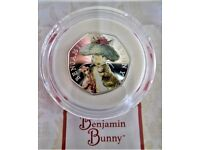 2017 BEATRIX POTTER BENJAMIN BUNNY 50 PENCE STERLING SILVER COLOURED PROOF BRAND NEW COIN
