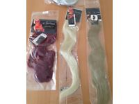 3 different colour sets of Hair Extensions/ long hair job lot