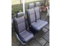 VW TRANSPORTER T5 BLACK & DARK GREY FULL LEATHER FRONT SEATS Double Bentley stitch, new interior
