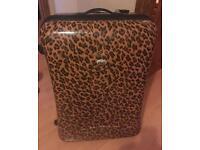 Leopard print light weight suitcase