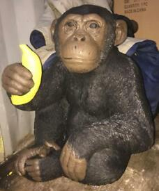 Large stone monkey with banana very heavy 2 people required