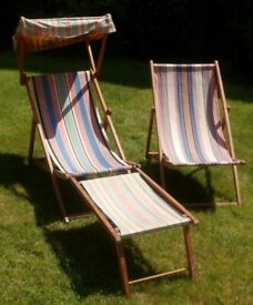 2 vintage deckchairs; one rare, with adjustable canopy and removable footrest.