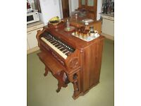 Pedal organ, 18 stops, Cornish Company of Washington NJ, owner's grandfather purchased 1920s, plays.