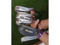 Ladies golf clubs, mixed selection.