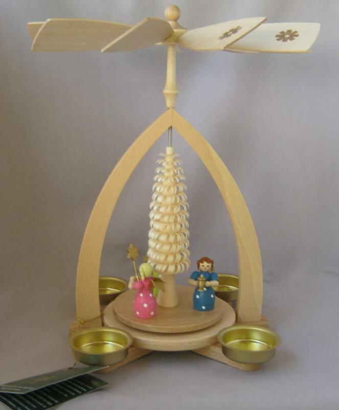 ANGELS CHRISTMAS PYRAMID Wood Authentic Glaesser Seiffen Erzgebirge Germany