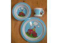 PLASTIC PLATE BOWL CUP SET FOR CHILD RED TRACTOR