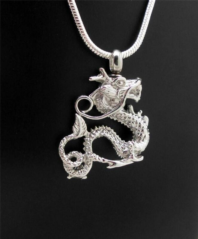 316L Stainless Ornate Oriental Silver Dragon Memorial Keepsake Urn Ash Pendant