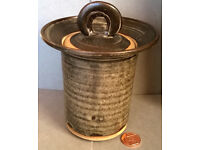 glazed stoneware lidded jar