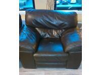 Single leather armchair.