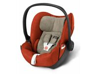 Cybex Heavy Duty Reclining Baby Car Seat - Autumn Gold Orange - with ISOFIX base