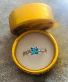 Sterling Silver Princess Cut Blue Topaz Ladies Ring.