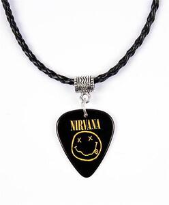 Nirvana Smiley Necklace Guitar Pick Plectrum Black Twist Cord