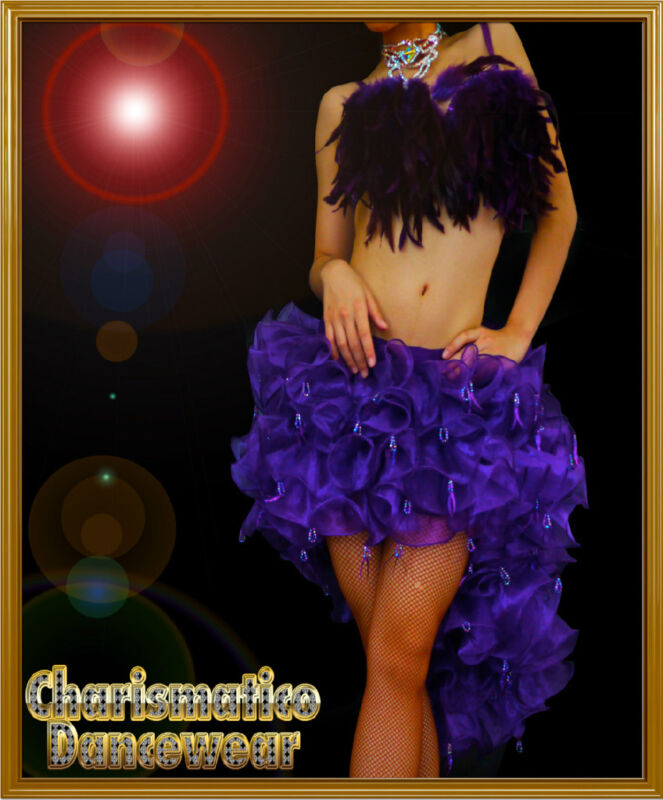 CHARISMATICO PURPLE SAMBA DANCE FEATHER BRA ORGANZA RUFFLE SKIRT MAMBO Dress