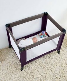 Mamas and Papas plum/grey classic travel cot hardly used