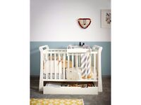 Brand New - Mia Sleigh Cot Package - Ivory (Mamas n Papas)