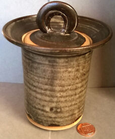 glazed stoneware lidded jar