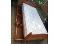 Solid pine single bed with 3 drawers and clean mattress