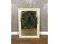 Solid Pine Vintage Mirror/Quality Bevelled glass/Hand painted Shabby ChicAnnie Sloan Cream