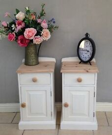 Pair Solid Pine Bedside Tables.