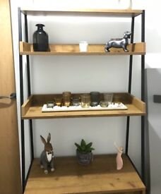 Pine effect and metal 'Brunel' shelving unit including cupboard 170 x 80 x 47cm