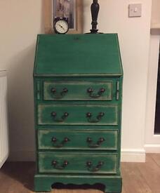 Elegant-chic fully refurbished vintage bureau, chest of drawers in chalk emerald green finish