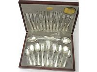 VINERS traditional bead, 44 piece, silver plated, boxed, cutlery set - as new - £99 ovno