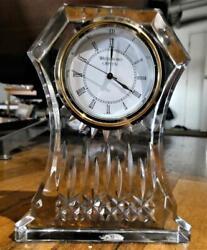 WATERFORD Crystal 'Lismore Ireland-6.5 Desk-Mantel Clock-Gold Label
