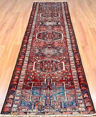 2'8 x 10'8 Wonderful Authentic Semi Antique Persian Heriz Serapi Wool Rug Runner