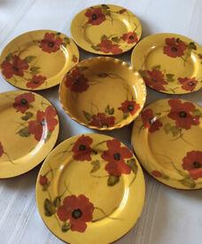 8 piece Living Quarters Fleur de Paradis plates and casserole serving dish with red poppy design